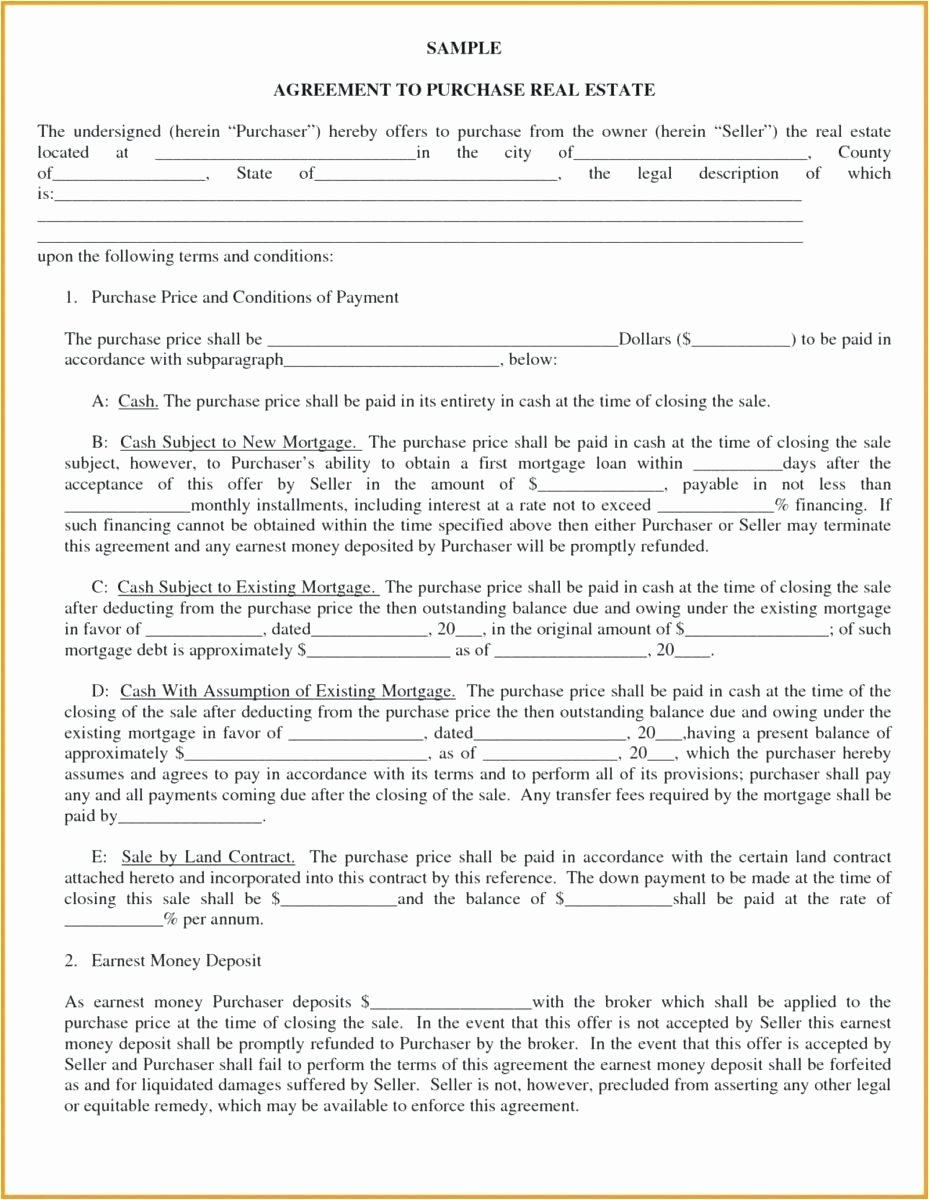 Blanket Purchase Agreement Template Best Of Blank Purchase Contract Blank Contract Blank Land Purchase