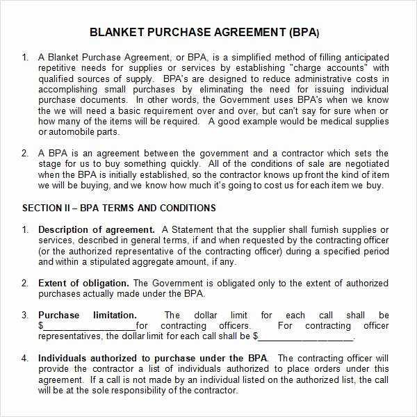 Blanket Purchase Agreement Template Elegant 11 Stock Purchase Agreement Templates to Download