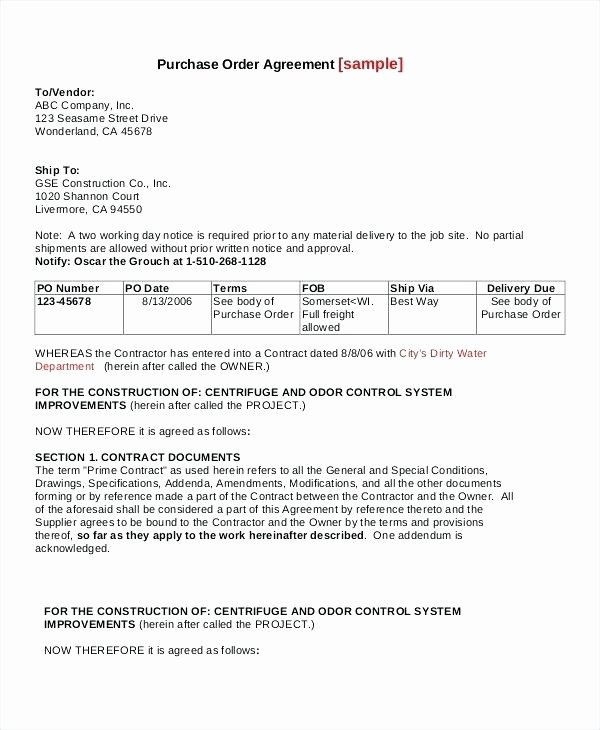 Blanket Purchase Agreement Template Luxury Purchase order Agreement Template – Mistblowerfo