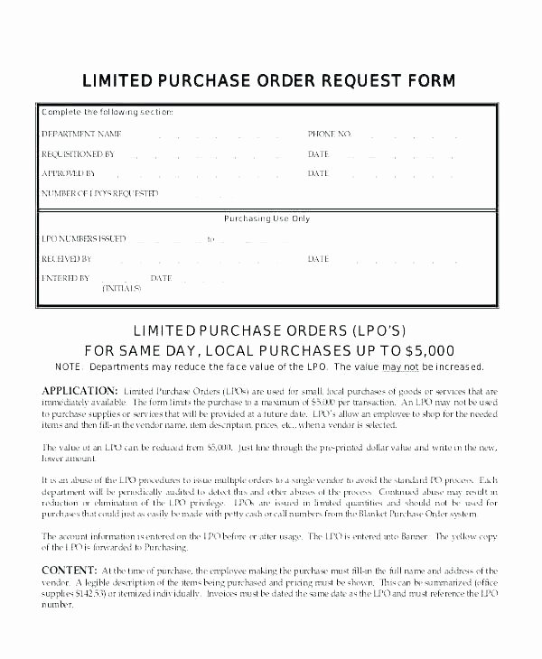 Blanket Purchase order Template Fresh Blanket Purchase order Template Agreement General Sample