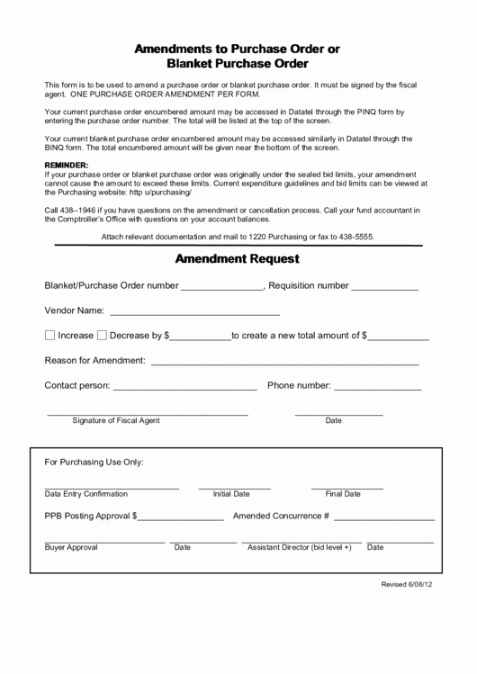 Blanket Purchase order Template Inspirational Amendments to Purchase order Blanket Purchase order