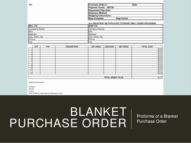 Blanket Purchase order Template New Types Of Purchasing System