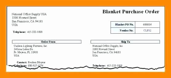 Blanket Purchase order Template Unique Blanket Purchase order Template Agreement General Sample