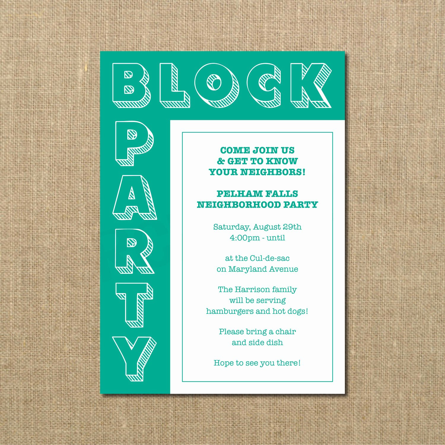 Block Party Flyer Template Elegant Neighborhood Block Party Cookout Invitation Grilling Out