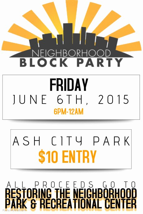 Block Party Flyer Template New Neighborhood Block Party Flyer Poster Template