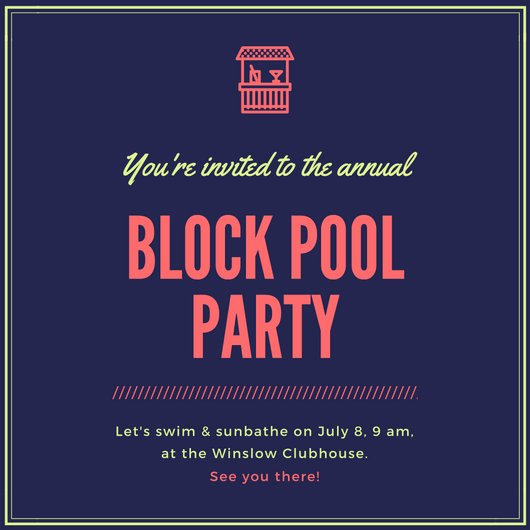 Block Party Invitation Template Awesome Pool Party Invitation Templates Canva