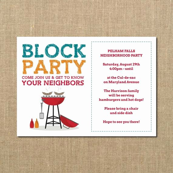 Block Party Invitation Template Beautiful Neighborhood Block Party Cookout Invitation Grilling Out