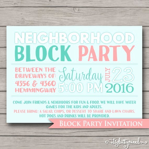 Block Party Invitation Template Inspirational Neighborhood Block Party Invitation Announcement Invite Card