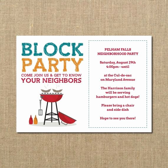 Block Party Invitation Template New Neighborhood Block Party Cookout Invitation by Perchedowl