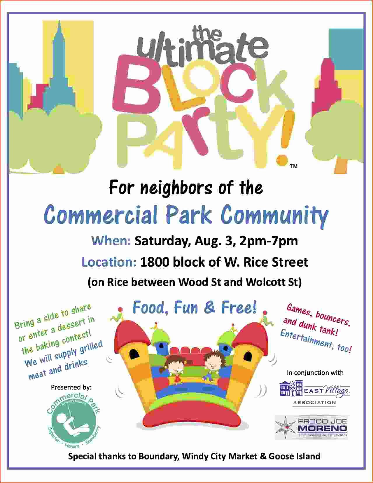 Block Party Invite Template Awesome 4 Block Party Flyer Template Bookletemplate