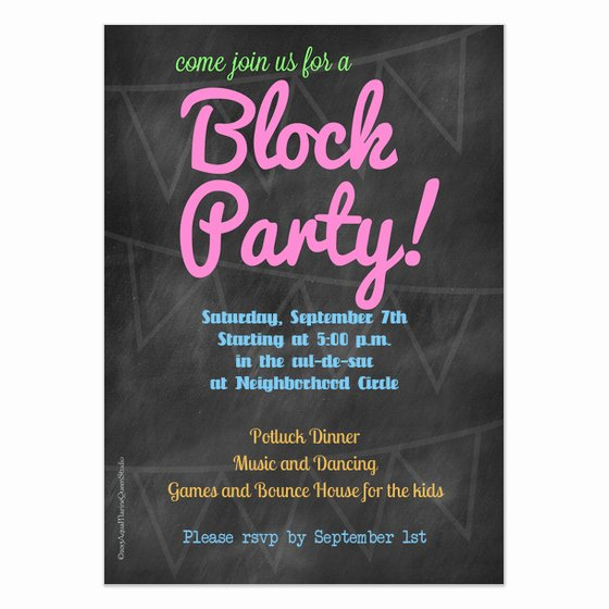 Block Party Invite Template Inspirational Chalkboard Block Party Invitation Invitations & Cards On