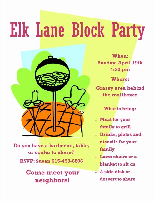 Block Party Invite Template Unique Meet and Greet Food Ideas