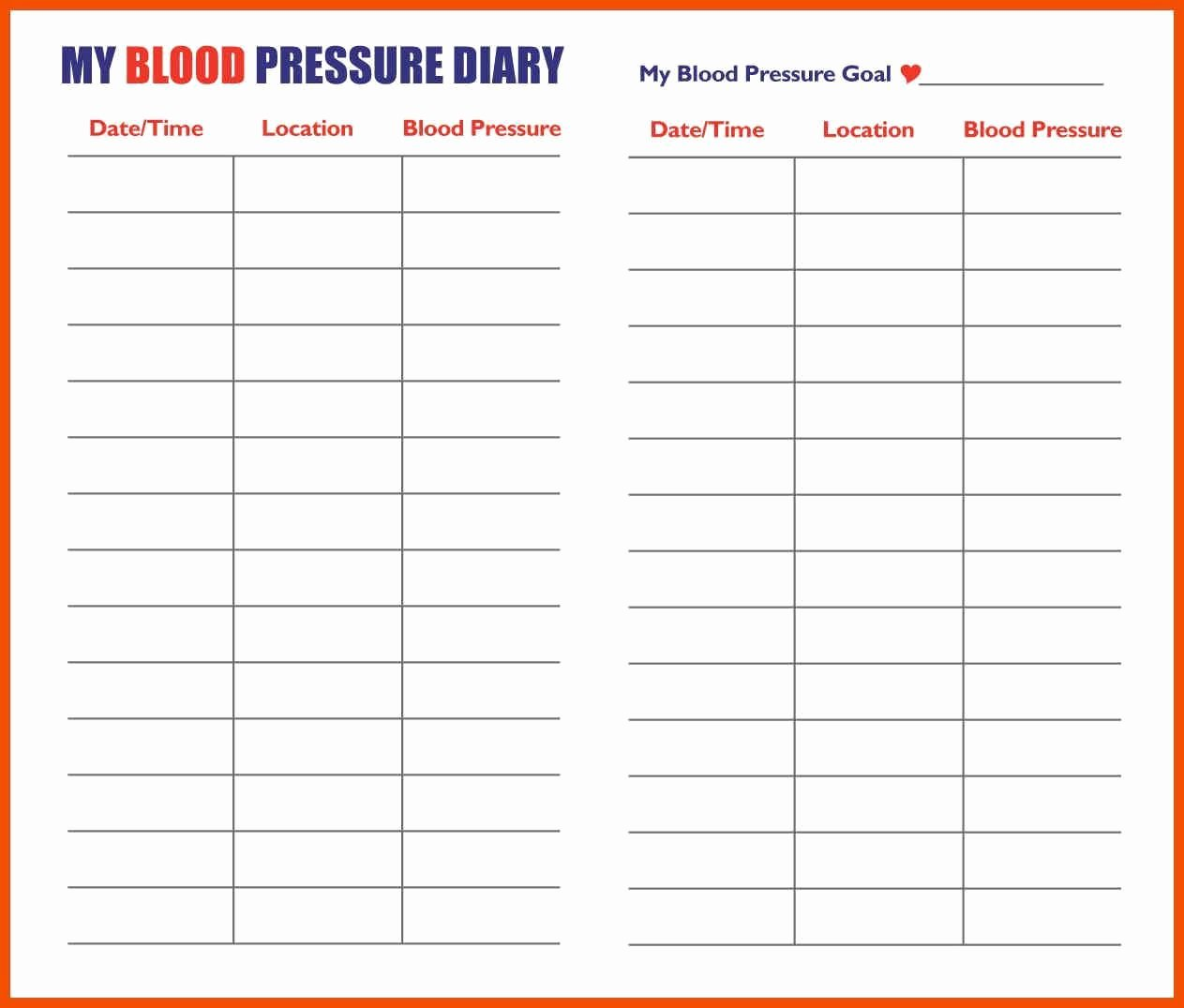 Blood Pressure Charting Template Beautiful Printable Blood Pressure Chart