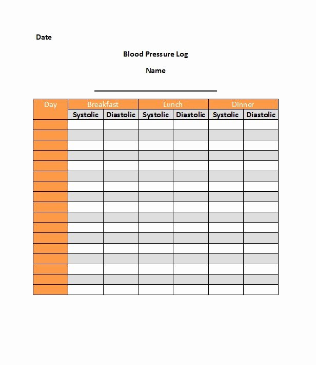 Blood Pressure Logs Template Lovely 30 Printable Blood Pressure Log Templates Template Lab
