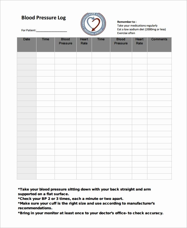 Blood Pressure Logs Template Unique Blood Pressure Log Template – 10 Free Word Excel Pdf
