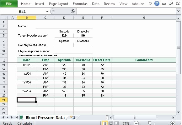 Blood Pressure Tracker Template Best Of Free Blood Pressure Tracker Template for Excel