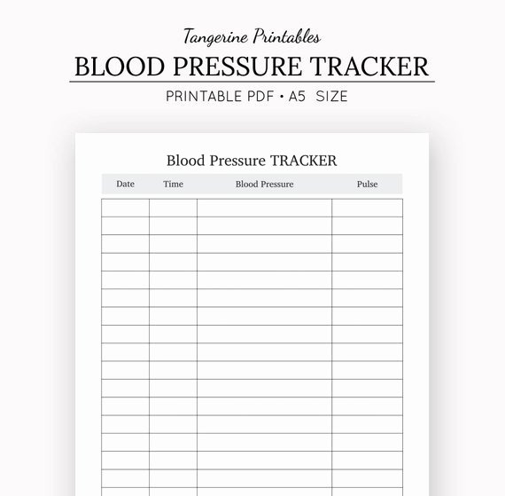 Blood Pressure Tracker Template Inspirational Blood Pressure Tracker Health Journal A5 Insert A5