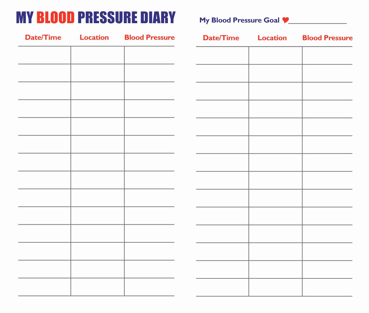Blood Pressure Tracker Template New 8 Best Of Blood Pressure Tracker Printable Chart