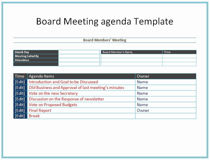 Board Meeting Agenda Template Elegant Board Meeting Agenda Template Easy Agendas