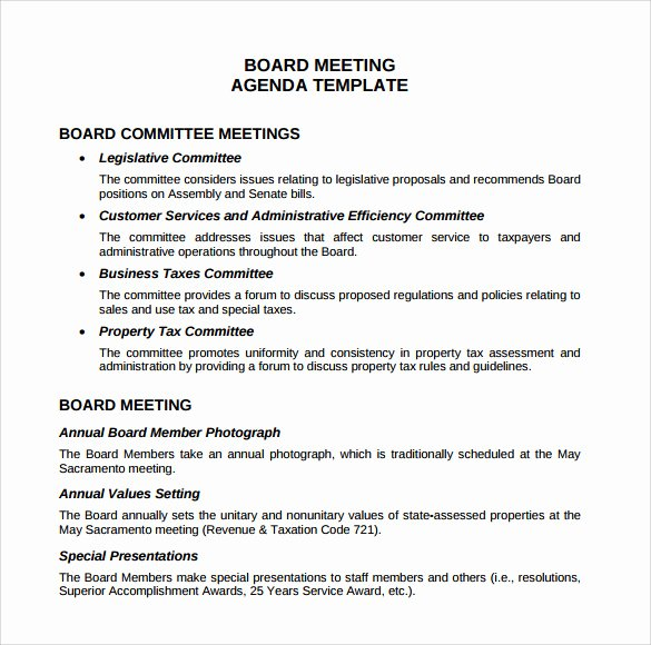 Board Meeting Agenda Template Elegant Sample Board Meeting Agenda Template 11 Free Documents