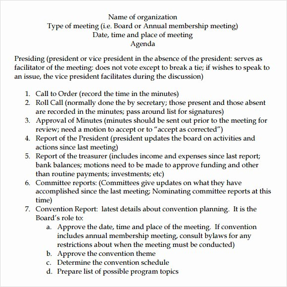 Board Meeting Agenda Template Fresh Board Meeting Agenda 11 Free Samples Examples format