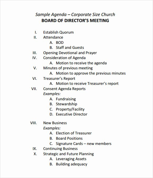 Board Meeting Agenda Template Fresh Sample Board Meeting Agenda Template 11 Free Documents