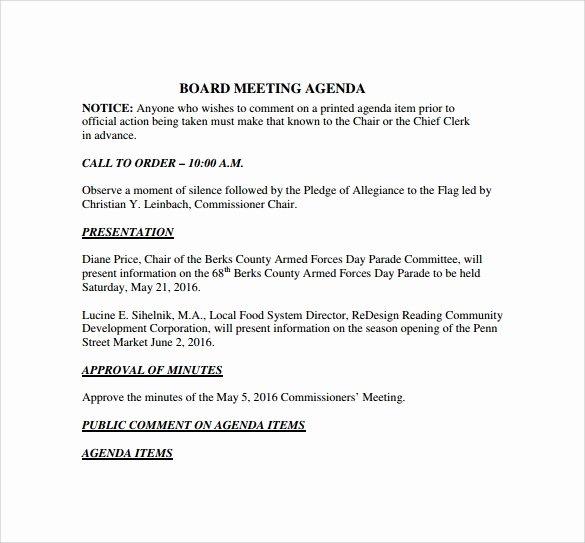 Board Meeting Agenda Template Inspirational 12 Board Meeting Agenda Templates – Free Samples Examples