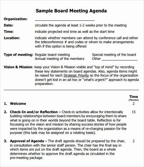 Board Meeting Agenda Template Inspirational 12 Sample Agenda Templates