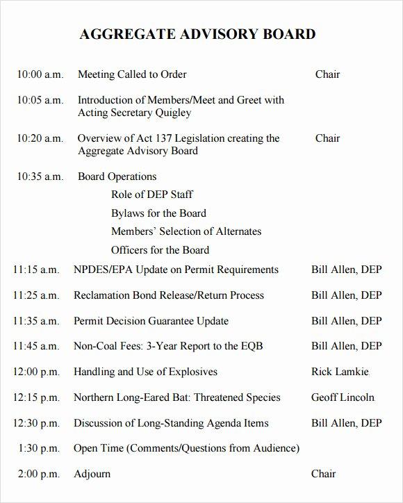 Board Meeting Agenda Template Inspirational Sample Board Meeting Agenda Template 11 Free Documents
