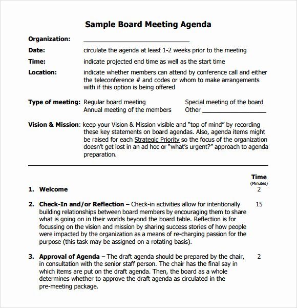 Board Meeting Agenda Template Lovely Board Meeting Agenda 11 Free Samples Examples format