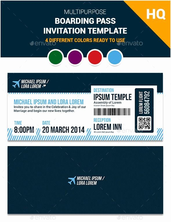Boarding Pass Invitation Template Awesome Multipurpose Boarding Pass Invitation Template
