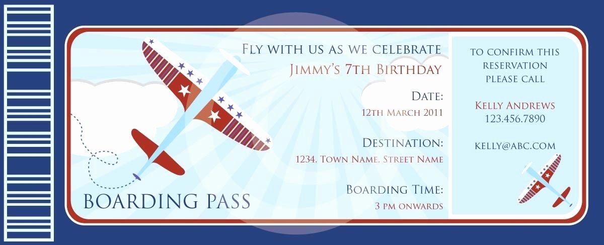 Boarding Pass Invitation Template Beautiful Boarding Pass Airplanes Invitation Diy Printable Party