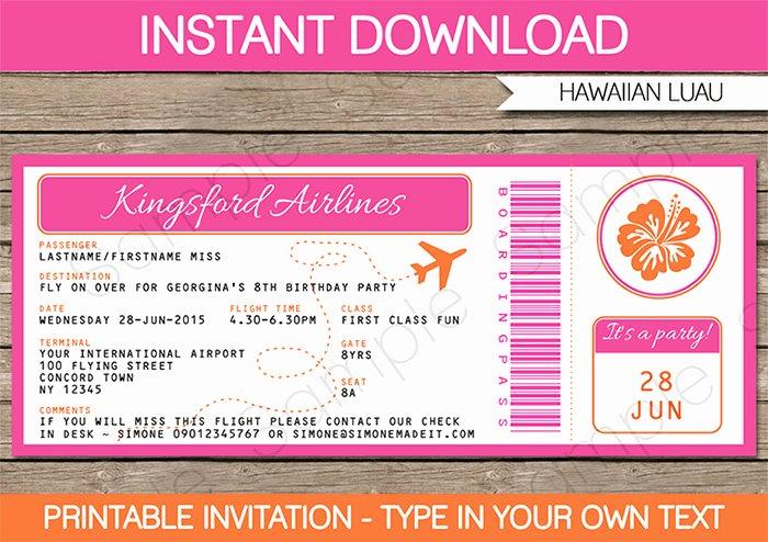 Boarding Pass Invitation Template Beautiful Luau Boarding Pass Invitations