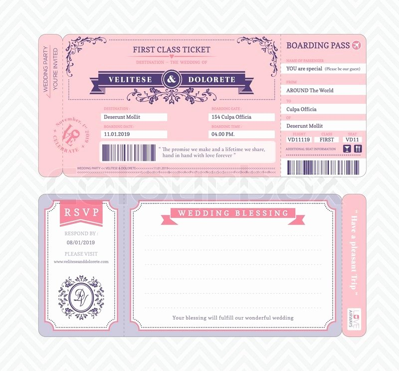 Boarding Pass Invitation Template Best Of Boarding Pass Ticket Wedding Invitation Template