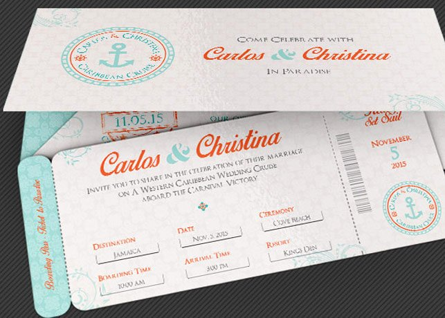 Boarding Pass Invitation Template Lovely Wedding Cruise Boarding Pass Invitation Template by