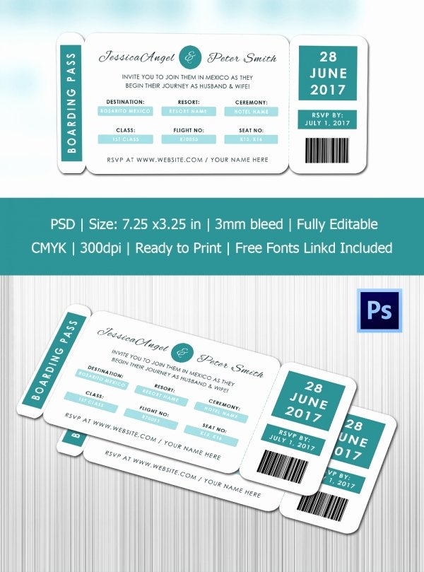 Boarding Pass Template Free Best Of Boarding Pass Invitation Template 36 Free Psd format