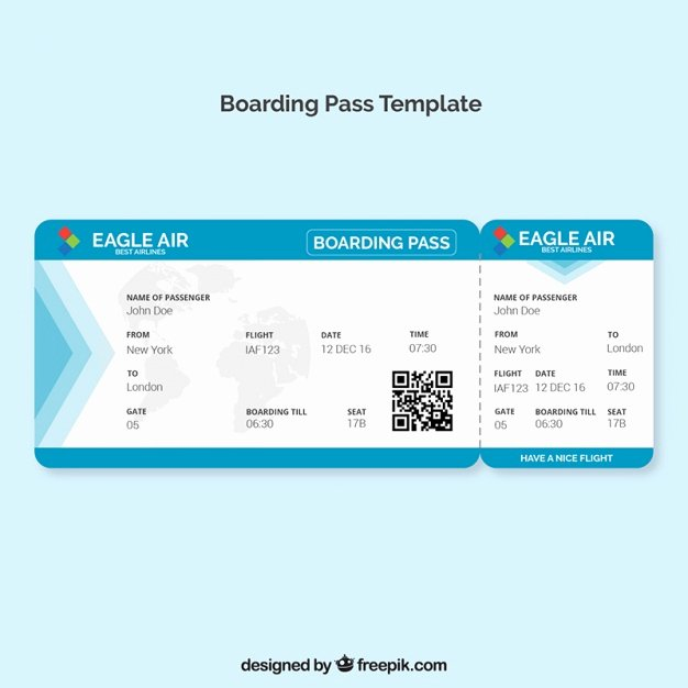 Boarding Pass Template Free Elegant Boarding Pass Template with Blue Details Vector