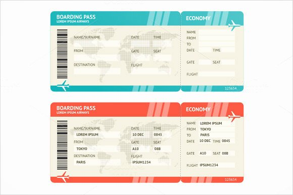 Boarding Pass Template Free New Boarding Pass Template 9 Download Documents In Pdf