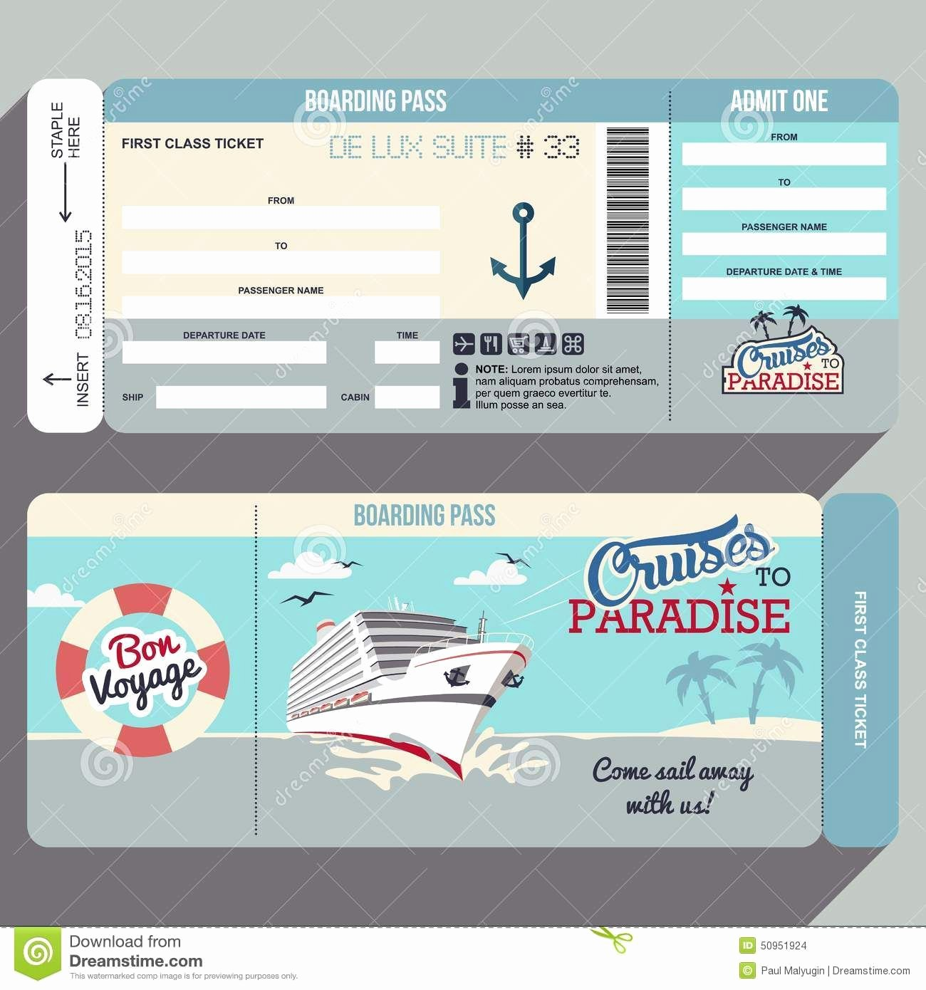Boarding Pass Template Free New Cruises to Paradise Boarding Pass Design