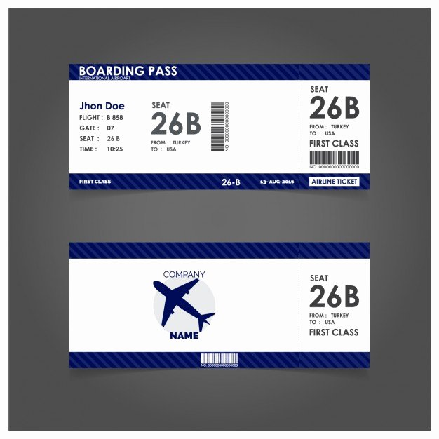 Boarding Pass Template Free Unique Blue Boarding Pass Template Vector