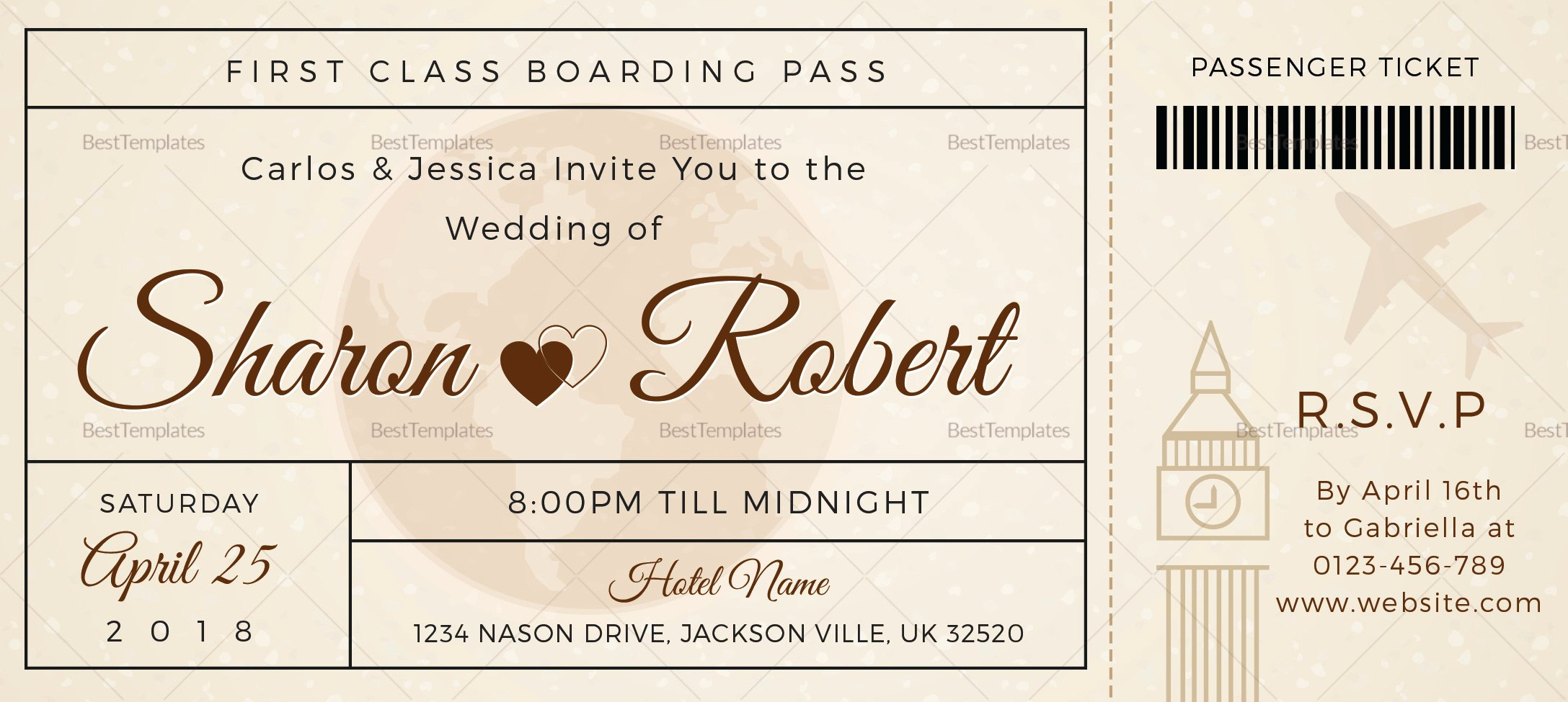 Boarding Pass Template Photoshop Awesome Wedding Boarding Pass Invitation Ticket Design Template In