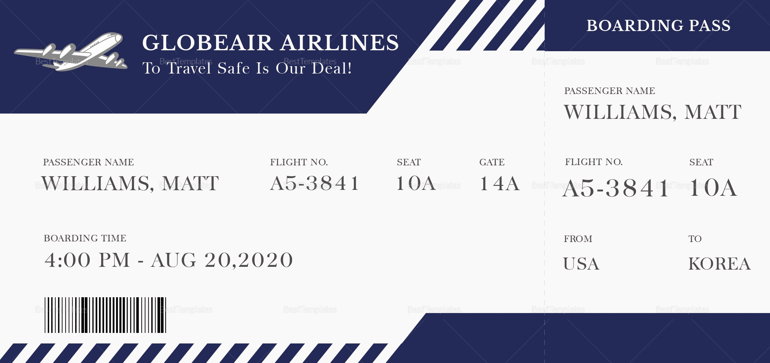 Boarding Pass Template Photoshop Inspirational Plane Boarding Ticket Design Template In Psd Word