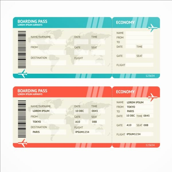Boarding Pass Template Photoshop Luxury Airline Tickets Template Design Vector 07 Free