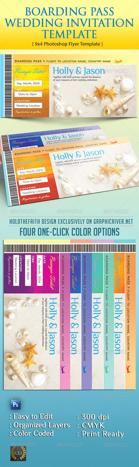 Boarding Pass Template Photoshop New Boarding Pass Wedding Invitation Template by Godserv On