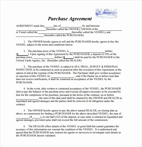 Boat Purchase Agreement Template Elegant 9 Boat Purchase Agreement Templates