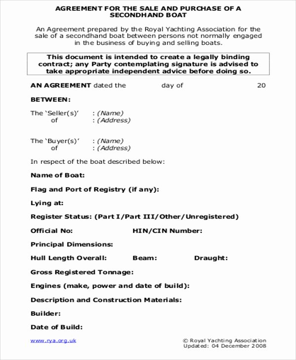 Boat Purchase Agreement Template Elegant 9 Sample Sales Agreement Contracts