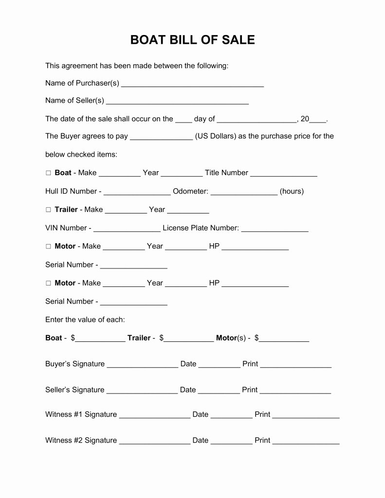 Boat Purchase Agreement Template Lovely Bill Sale form Boat Free Templates Resume Examples