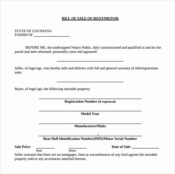 Boat Purchase Agreement Template Lovely Sample Boat Bill Of Sale Template 8 Free Documents In