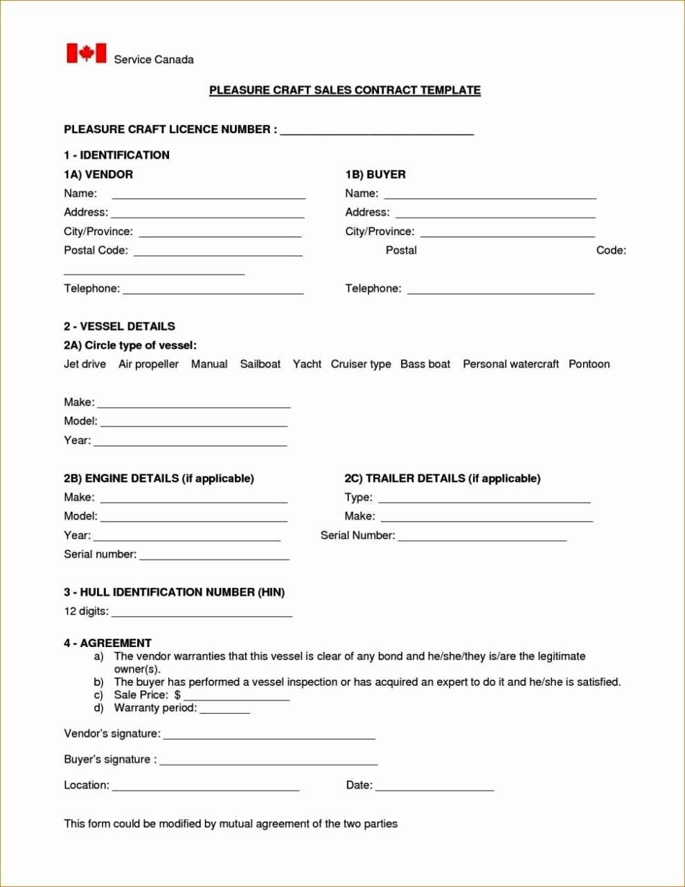 Boat Purchase Agreement Template Unique Boat Sale Contract Template Sampletemplatess