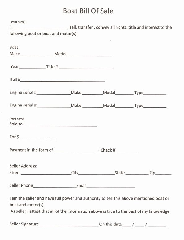 Boat Purchase Agreement Template Unique Free Printable Bill Sale form